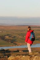 06-2006 Hill Walker enjoying the view over Baldersdale from Goldsborough Crag, Teesdale County Durham
